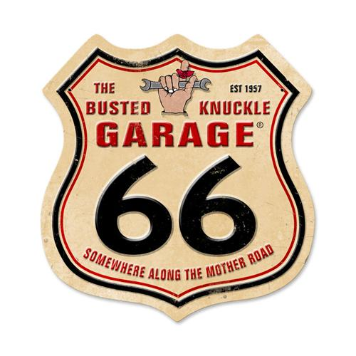 busted knuckle garage route 66 tin metal sign reproduction. Black Bedroom Furniture Sets. Home Design Ideas