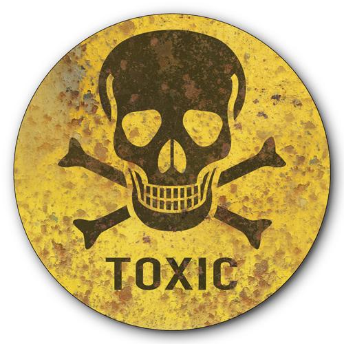 toxic sign and skulls -#main