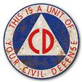 Civil Defense Unit CD Logo Symbol Rust FX Tin Metal Steel Sign :: 14 inch diameter