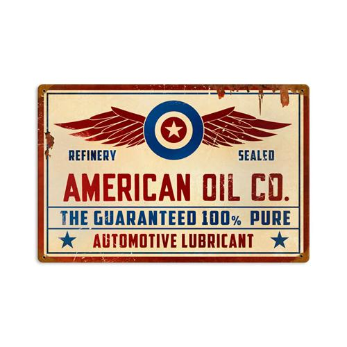 Automotive Tin Signs : American oil co retro automotive lubricant tin metal sign