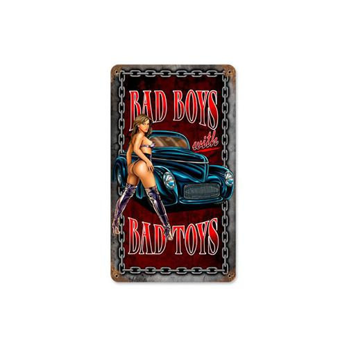Bad Boy Toys : Bad boys with toys hot rod pin up girl tin metal sign