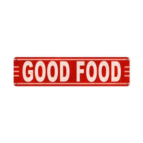 Retro good food tin metal sign reproduction 20 x 5 for Plaque metal cuisine
