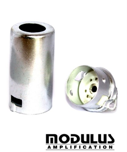 ALUMINIUM PRE AMP VALVE SHIELD and SOCKET - SILVER