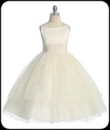 Ivory Lace Trim Girls Formal Dress w. Tiered Lettuce Trim Tulle Skirt  KD198  KD210