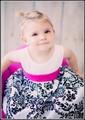 White Taffeta Baby Girls Formal Dress w. Fuchsia Sash & Damask Skirt  KD294