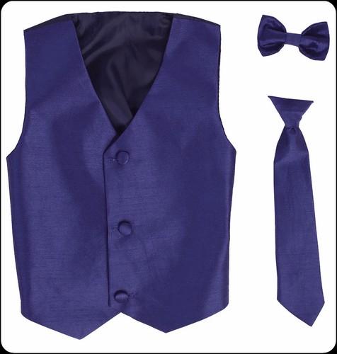 royal blue boys 2pc polysilk vest set w necktie or bow tie
