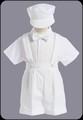 Boys White Baptism Shorts Set w. Suspenders & Newsboy Hat