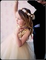 Gold Shimmering Sequined Flower Girls Dress w. Ruffle Hem Mesh Skirt