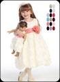 Ivory Satin Flower Girls Dress w. Floral Ribbon Soutache Skirt BL220