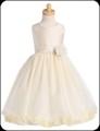 Ivory Shantung Flower Girls Dress w. Tulle Petal Skirt H341