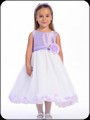 Lilac Shantung Flower Girls Dress w. White Tulle Petal Skirt H341