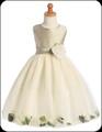 Sage Shantung Flower Girls Dress w. Ivory Tulle Petal Skirt H341