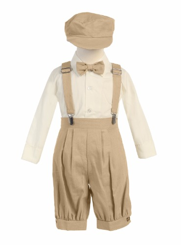 G827 Rayon Linen Boys Knickers Easter Set w. Suspenders & Hat (13)