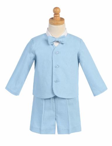 G828 Linen Boys Easter Shorts Set w. Eton, Shirt & Bow Tie (5)