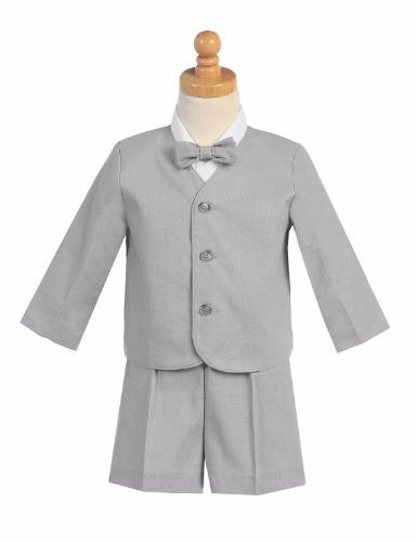 G828 Linen Boys Easter Shorts Set w. Eton, Shirt & Bow Tie (13)