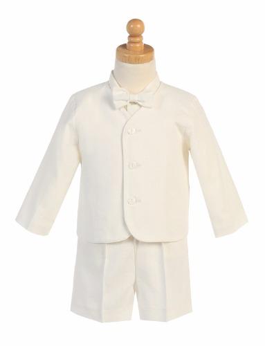 G828 Linen Boys Easter Shorts Set w. Eton, Shirt & Bow Tie (20)