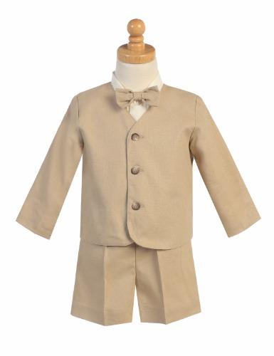G828 Linen Boys Easter Shorts Set w. Eton, Shirt & Bow Tie (21)