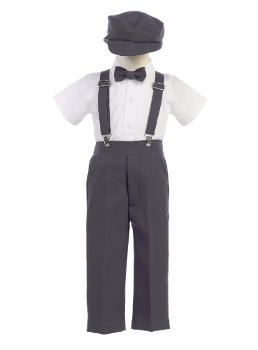 G825 4pc Boys Easter Pants Set w. Suspenders & Hat (6)