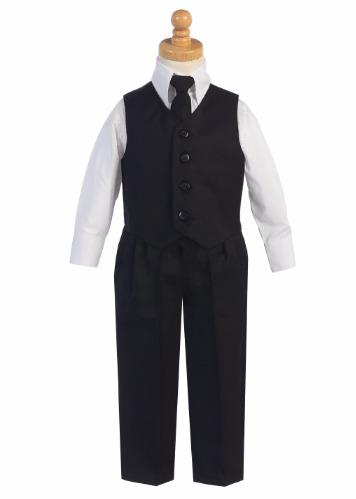 8570 Black 4-Piece Vest, Shirt, Tie and Pant Suit Boys Set (1)