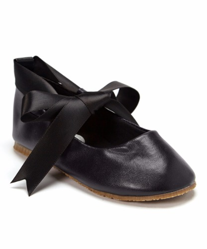black ballet flats dress shoes w ribbon tie