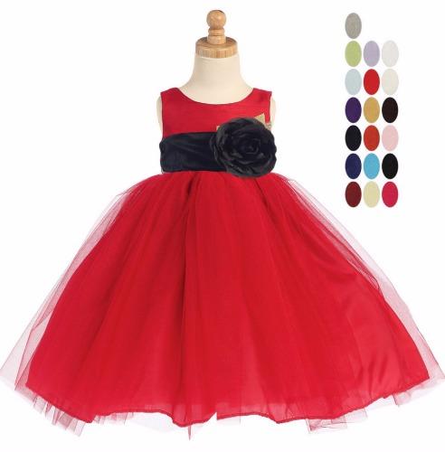 Red PolySilk Flower Girls Dress Ballerina Tulle Skirt & Sash BL228 (2)