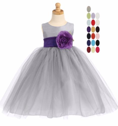 Silver PolySilk Flower Girls Dress Ballerina Tulle Skirt & Purple Sash BL228