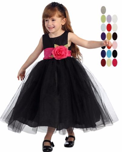 Black PolySilk Flower Girls Dress Ballerina Tulle Skirt & Sash BL228 (1)