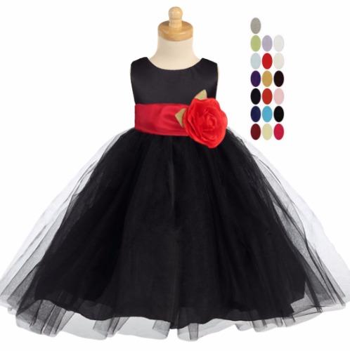 Black PolySilk Flower Girls Dress Ballerina Tulle Skirt & Sash BL228 (12)