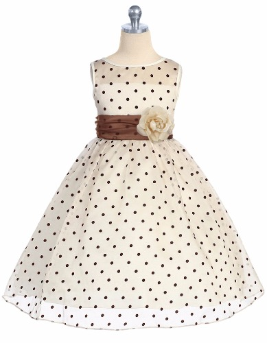 Ivory Organza Girls Occasion Dress w. Chocolate Brown Polka Dots KD234 (1)