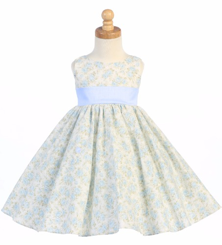 Light Blue Floral Print Cotton Girls Easter Dress w. Shantung Envelope Back M693 (1)