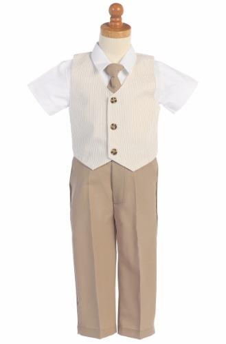 Khaki Tan Boys Seersucker Vest & Pants 4-Piece Dresswear Set G824 (1)