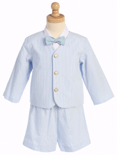 Light Blue Seersucker Boys Eton Jacket & Shorts 4pc Easter Set G819