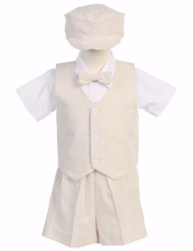 Khaki Cotton Seersucker Vest & Shorts Easter Set w. Hat 6M-4T G820 (1)