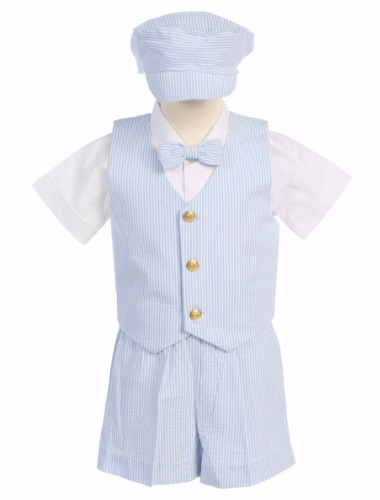 Light Blue Cotton Seersucker Vest & Shorts Easter Set w. Hat 6M-4T G820 (1)