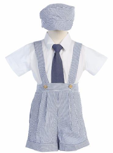 Chambray Blue Boys Seersucker Suspender Shorts & Hat Easter Set G822 (1)