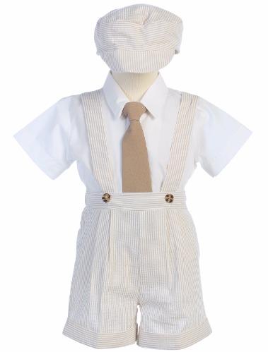 Khaki Boys Seersucker Suspender Shorts & Hat Easter Set G822 (1)
