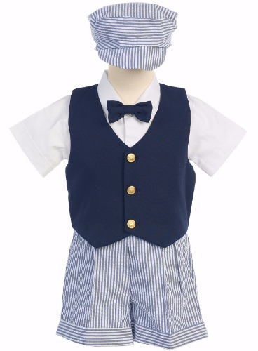 Navy Blue Boys Vest & Seersucker Shorts Set w. Hat G821 (1)