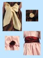 Taffeta Girls Dress Sash w. 4 Rosette Flowers