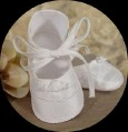 100% Silk Off White Dupioni Shoes w. Bias Tie & Rosette for Infant Girls