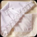 Infant Girls Baptism Bonnet to Wedding Hankie Gift Set