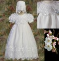 White Organza Baby Girls Christening Gown w. Ribbon Detail & Lace Collar *