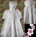 Satin Baptism Dress w/ Laser Cut-Work Trim, Organza Cape & Bonnet Infant & Toddler Girls