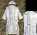 Satin Embroidered Baptism Robe Gown w/ Shawl & Silver Embroidery Infant Boys