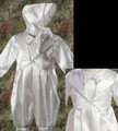 Satin 2pc Baptism Outfit w. Attached Jacket & Coverall Legs Infant Boys