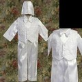 Baby Boys 4pc White Baptism Pants Suit w. Embroidered Vest