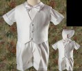 4pc Boys White Baptism Outfit w. Textured Vest, Shorts & Hat Baby & Toddler