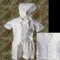 Shantung 4pc Baptism Shorts Outfit w/ Embroidered Cross Design Infant & Toddler Boys