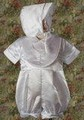 Satin 2pc Baptism Short Romper Outfit w/ Cross Bib & Bonnet Infant Boys