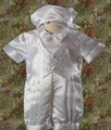White Satin Baby Boys Baptism Romper Set w. Vest & Pleated Legs *