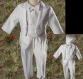 White Baptism Tuxedo w. Round Tail & Embroidered Crosses Baby & Toddler Boys *
